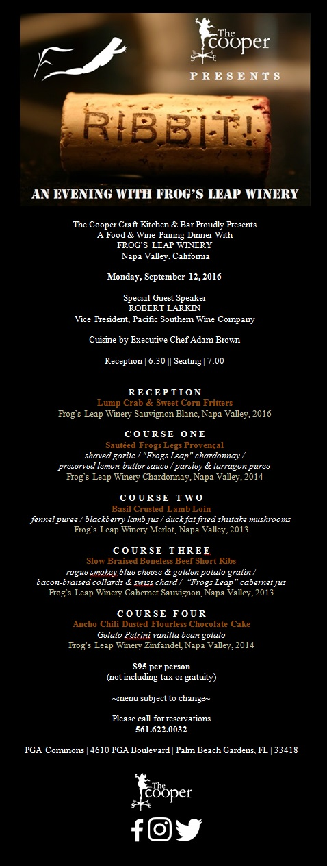 Frog's Leap Winery Pairing Dinner at The Cooper